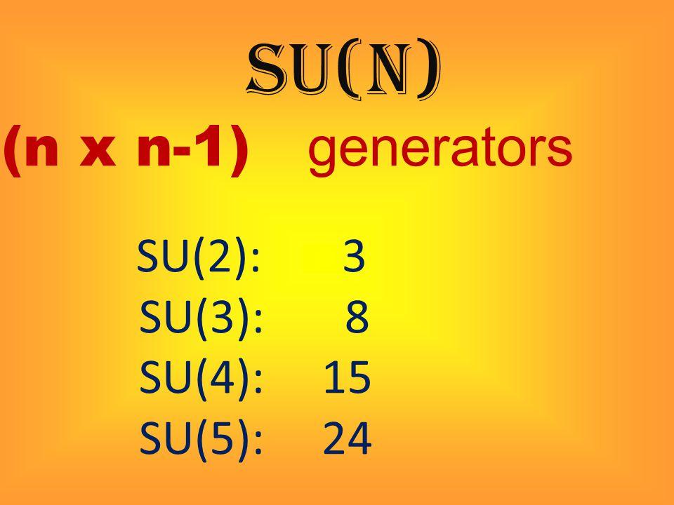 SU(n) (n x n-1) generators SU(2): 3 SU(3): 8 SU(4): 15 SU(5): 24