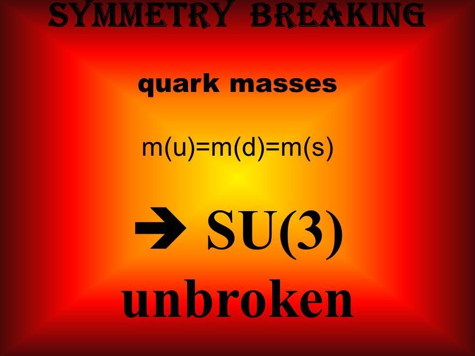 Symmetry breaking quark masses m(u)=m(d)=m(s)  SU(3) unbroken