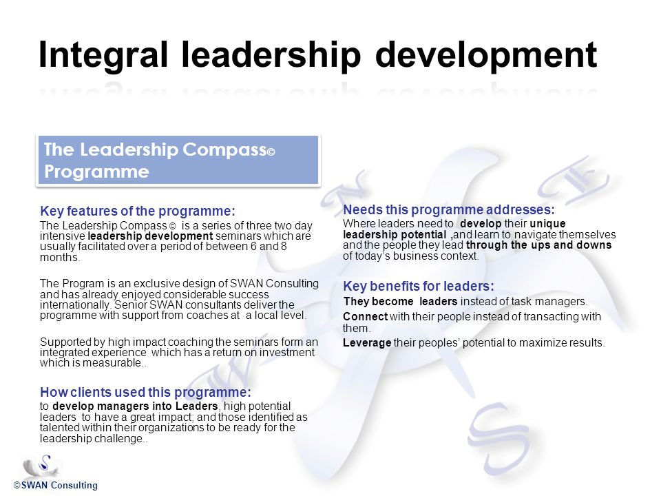 ©SWAN Consulting Key features of the programme: The Leadership Compass © is a series of three two day intensive leadership development seminars which are usually facilitated over a period of between 6 and 8 months.