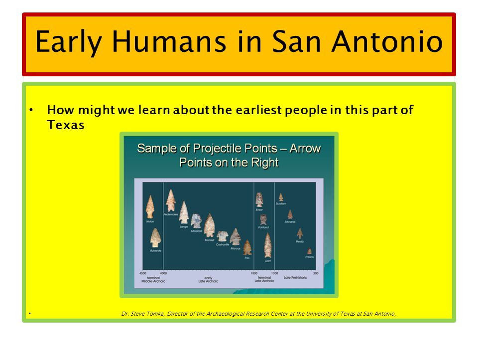 Early Humans in San Antonio How might we learn about the earliest people in this part of Texas Dr. Steve Tomka, Director of the Archaeological Researc