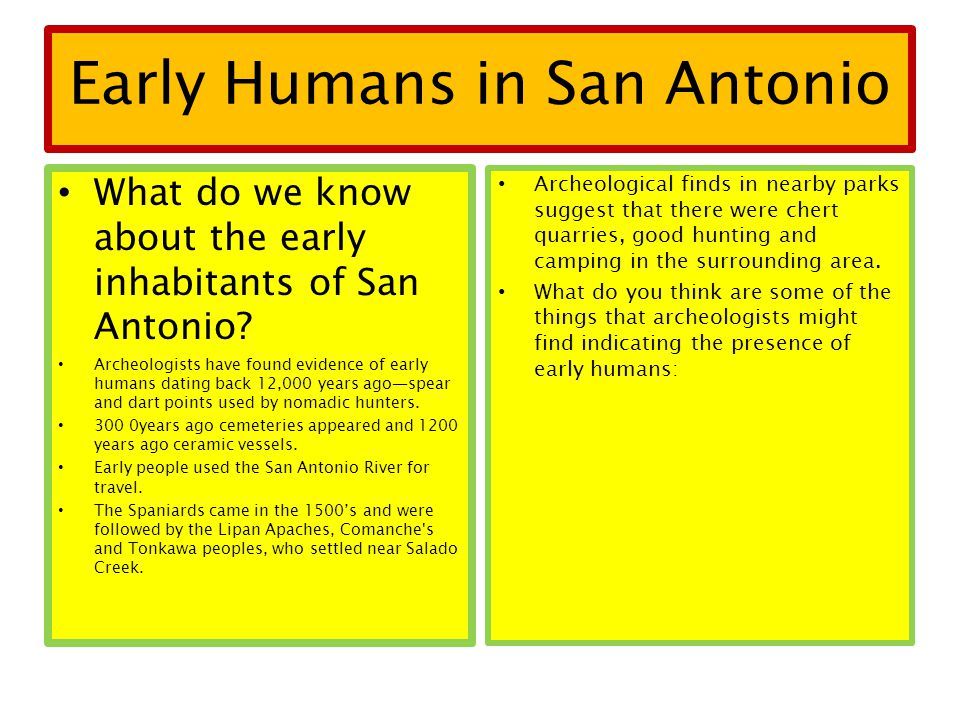 Early Humans in San Antonio What do we know about the early inhabitants of San Antonio? Archeologists have found evidence of early humans dating back