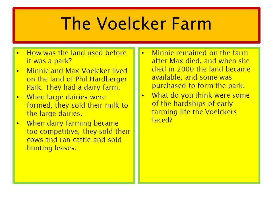 The Voelcker Farm How was the land used before it was a park? Minnie and Max Voelcker lived on the land of Phil Hardberger Park. They had a dairy farm