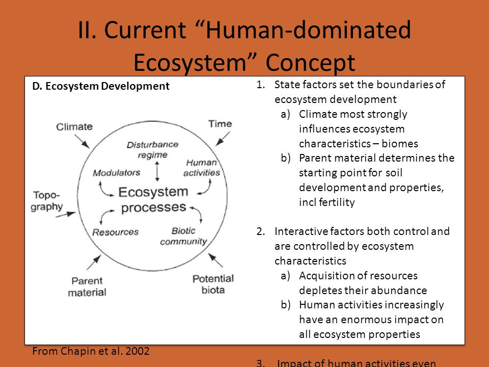 From Chapin et al. 2002 1.State factors set the boundaries of ecosystem development a)Climate most strongly influences ecosystem characteristics – bio