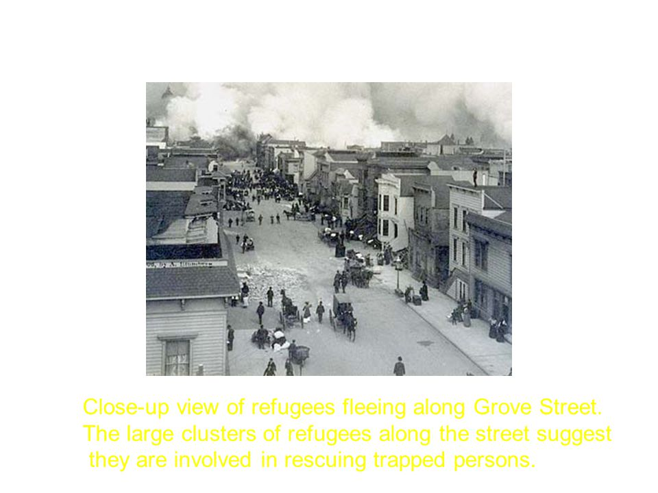 Close-up view of refugees fleeing along Grove Street.