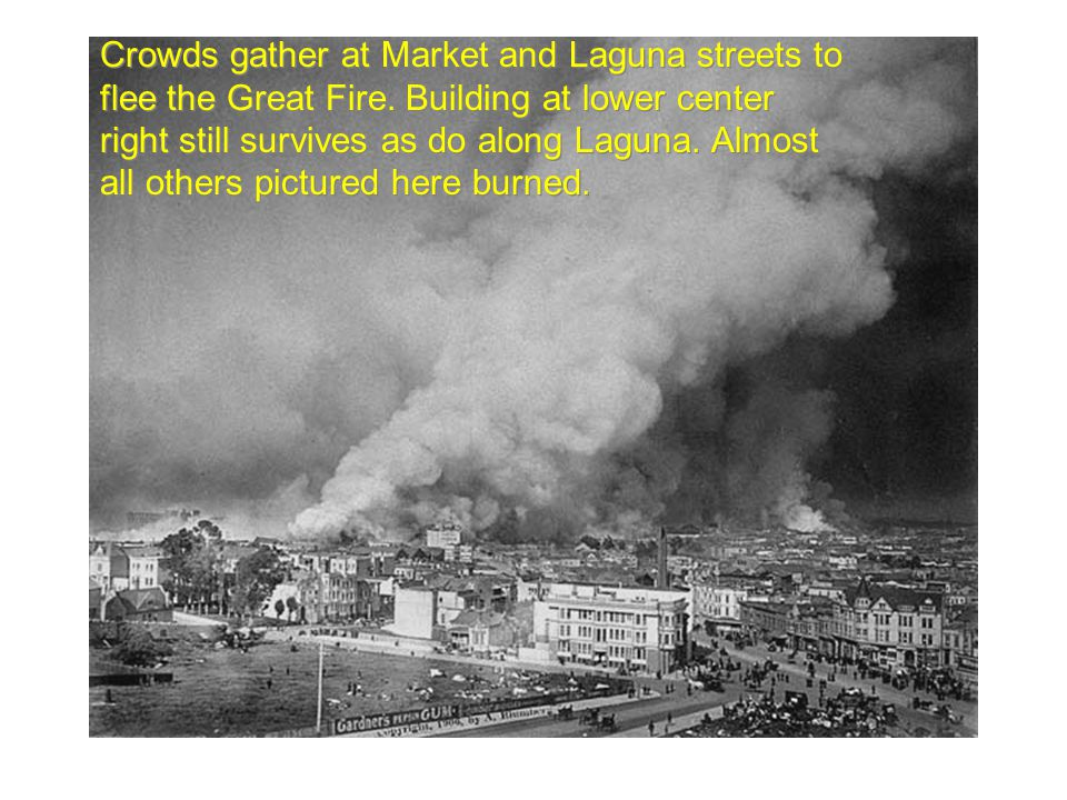Crowds gather at Market and Laguna streets to flee the Great Fire.