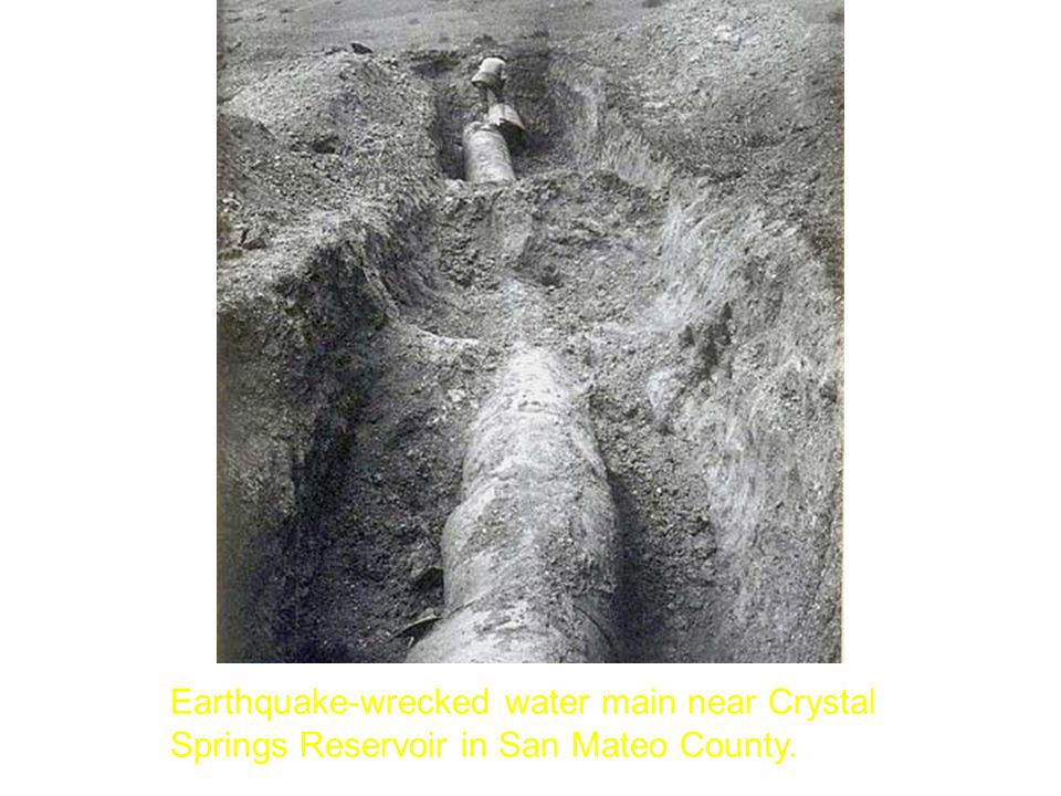 Earthquake-wrecked water main near Crystal Springs Reservoir in San Mateo County.