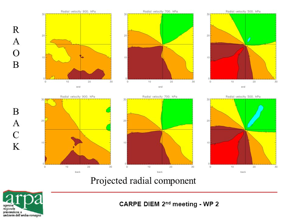 CARPE DIEM 2 nd meeting - WP 2 BACKBACK Projected radial component RAOBRAOB