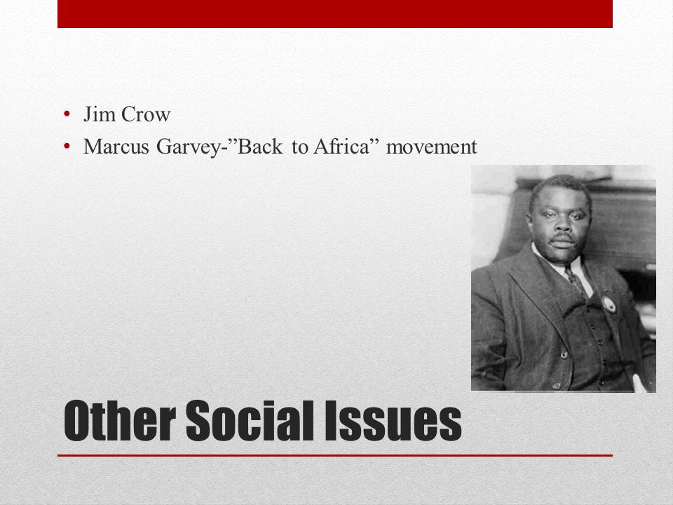 """Other Social Issues Jim Crow Marcus Garvey-""""Back to Africa"""" movement"""