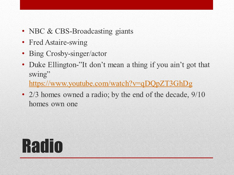 """Radio NBC & CBS-Broadcasting giants Fred Astaire-swing Bing Crosby-singer/actor Duke Ellington-""""It don't mean a thing if you ain't got that swing"""" htt"""