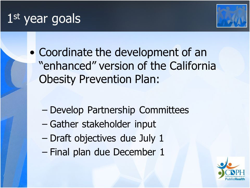 1 st year goals Coordinate the development of an enhanced version of the California Obesity Prevention Plan: –Develop Partnership Committees –Gather stakeholder input –Draft objectives due July 1 –Final plan due December 1