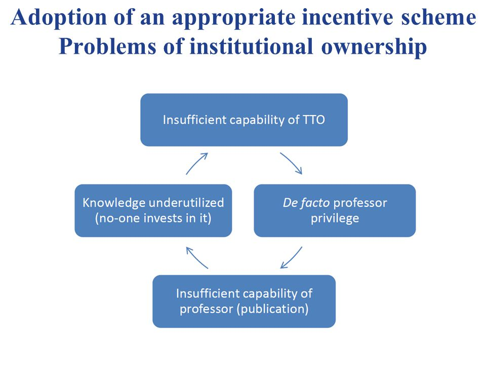 Adoption of an appropriate incentive scheme Problems of institutional ownership