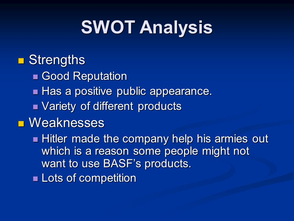SWOT Analysis Opportunities Opportunities The advancement of technology The advancement of technology Possibility of cheaper transportation Possibility of cheaper transportation Threats Threats High cost of shipping goods High cost of shipping goods More strict emissions laws More strict emissions laws