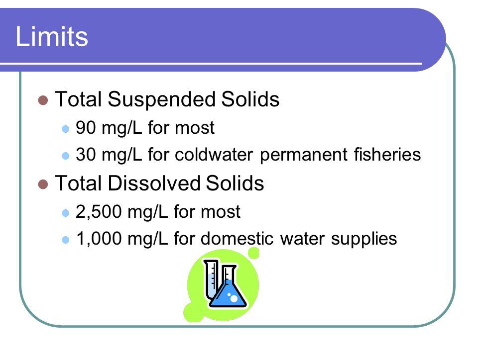 Limits Conductivity 2,500 μmhos/cm Chlorinated water 0.05 mg/L Total Residual Chlorine Chloraminated water 0.05 mg/L Total Residual Chlorine 1.0 mg/L Ammonia