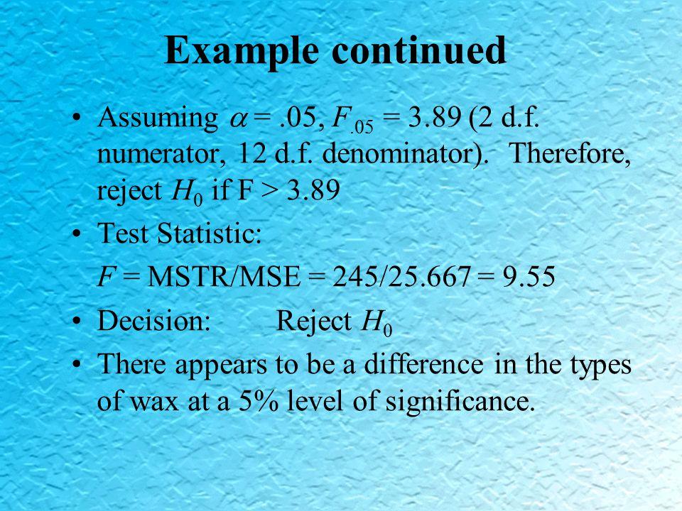 Assuming  =.05, F.05 = 3.89 (2 d.f. numerator, 12 d.f.