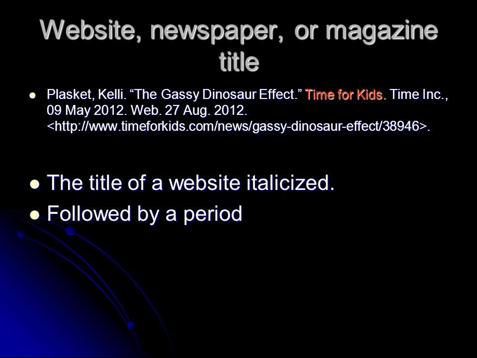 Website, newspaper, or magazine title Plasket, Kelli.