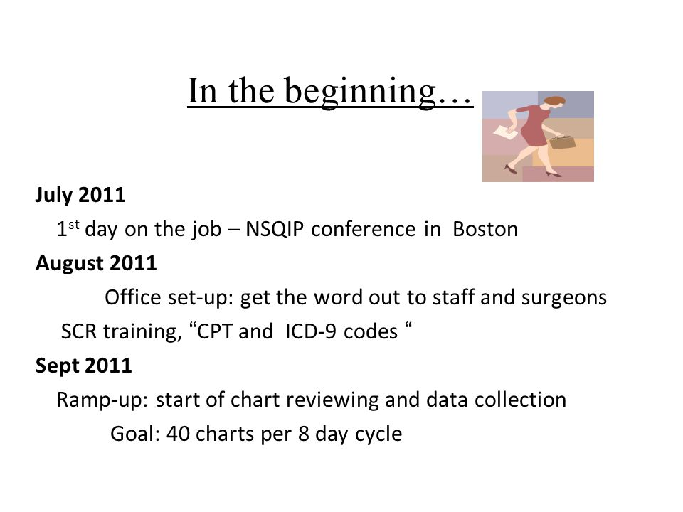In the beginning… July 2011 1 st day on the job – NSQIP conference in Boston August 2011 Office set-up: get the word out to staff and surgeons SCR training, CPT and ICD-9 codes Sept 2011 Ramp-up: start of chart reviewing and data collection Goal: 40 charts per 8 day cycle