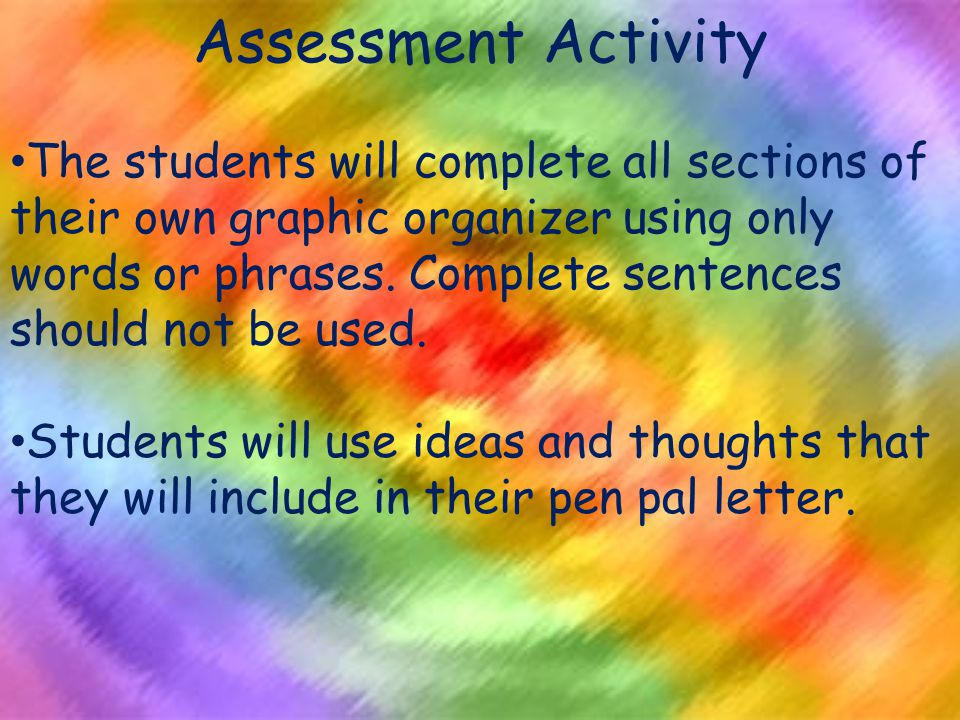 Assessment Activity The students will complete all sections of their own graphic organizer using only words or phrases.