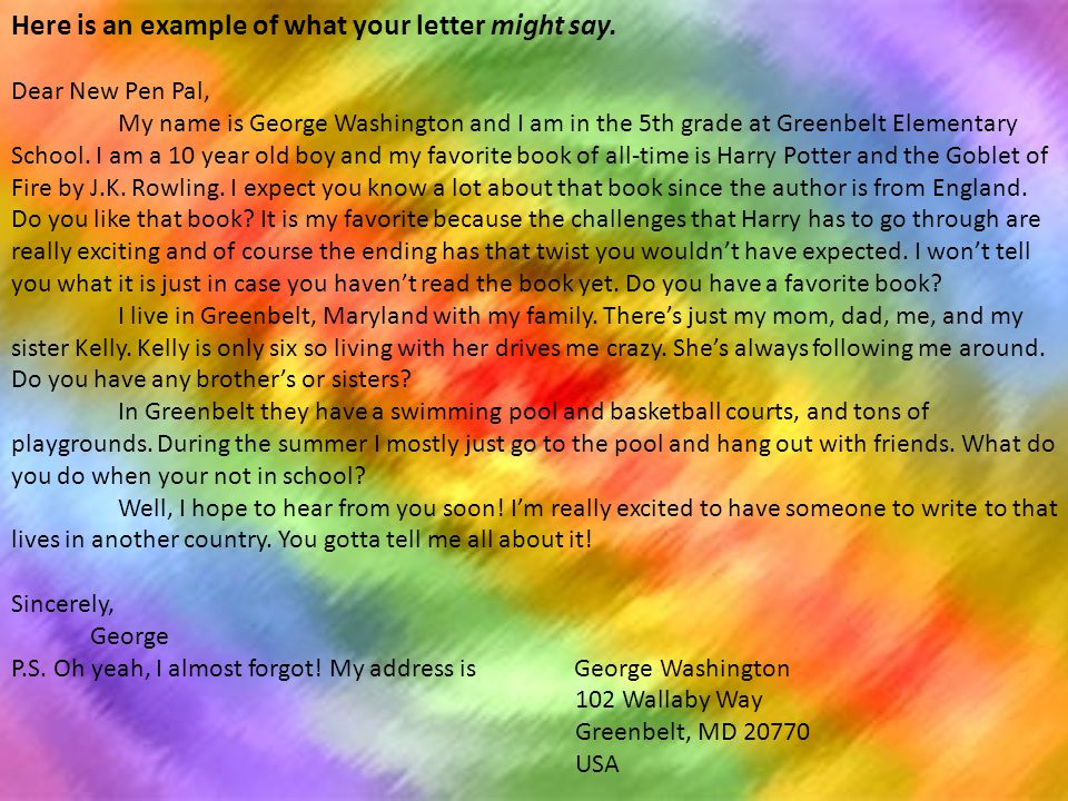 Here is an example of what your letter might say.