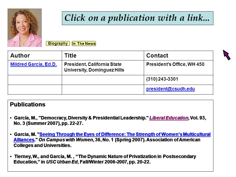 Publications García, M., Democracy, Diversity & Presidential Leadership. Liberal Education, Vol.