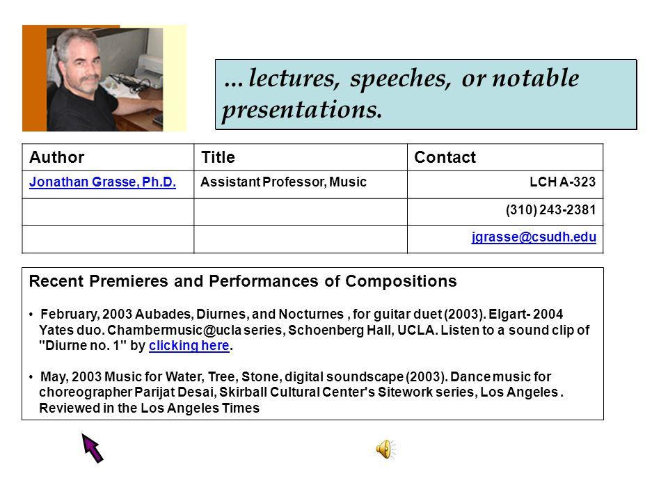 AuthorTitleContact Jonathan Grasse, Ph.D.Assistant Professor, MusicLCH A-323 (310) 243-2381 jgrasse@csudh.edu Recent Premieres and Performances of Com