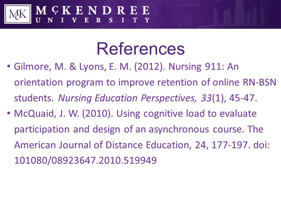 References Gilmore, M. & Lyons, E. M. (2012).