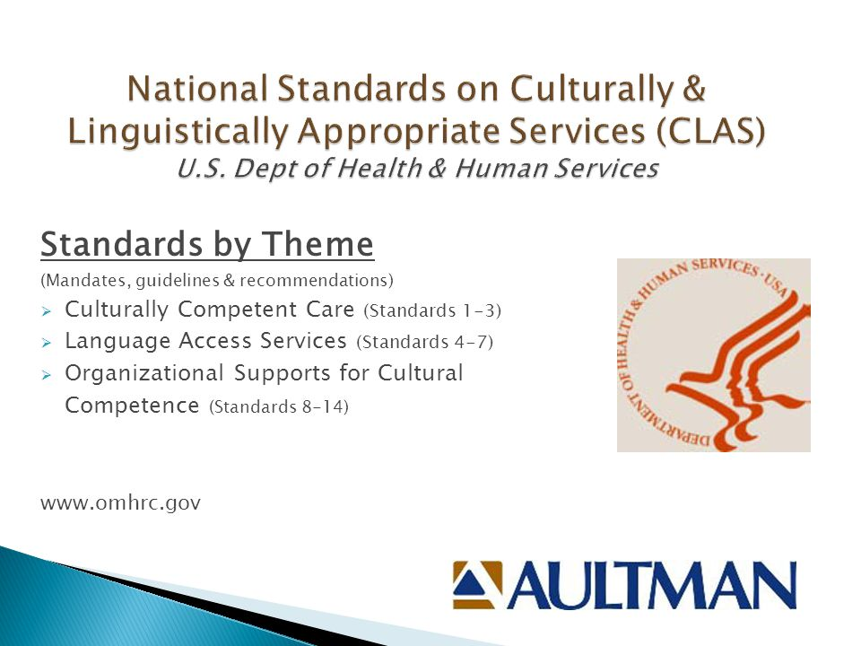 Standards by Theme (Mandates, guidelines & recommendations)  Culturally Competent Care (Standards 1-3)  Language Access Services (Standards 4-7)  Organizational Supports for Cultural Competence (Standards 8-14) www.omhrc.gov