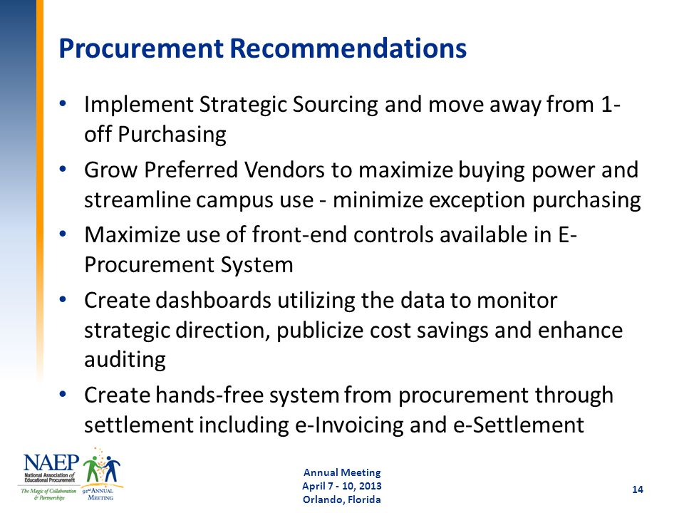 Procurement Recommendations Implement Strategic Sourcing and move away from 1- off Purchasing Grow Preferred Vendors to maximize buying power and stre