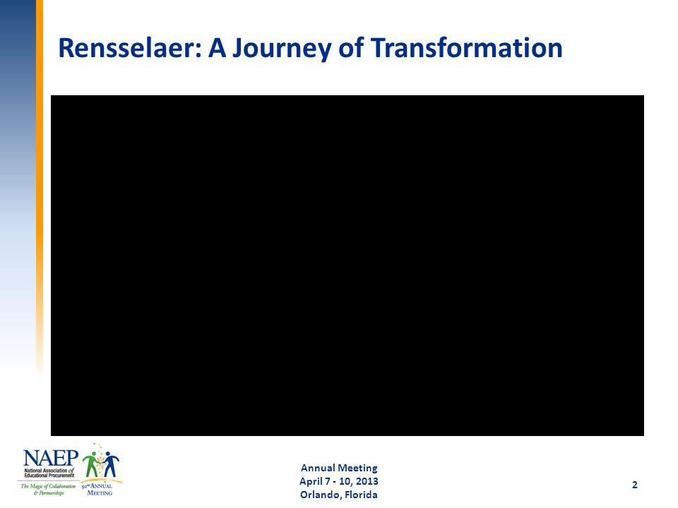 Rensselaer: A Journey of Transformation Annual Meeting April 7 - 10, 2013 Orlando, Florida 2