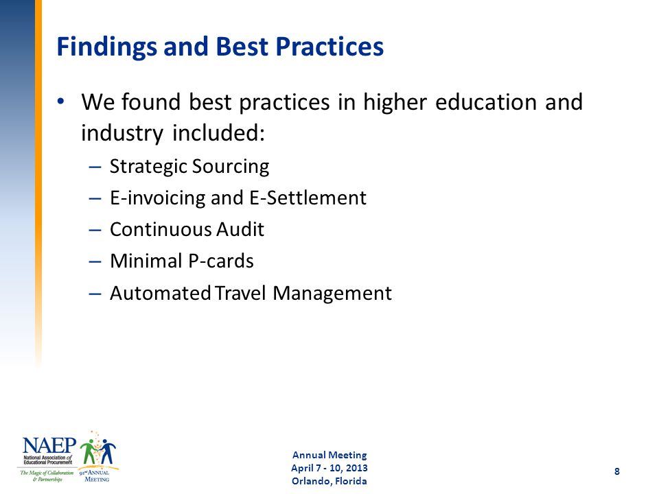 Findings and Best Practices We found best practices in higher education and industry included: – Strategic Sourcing – E-invoicing and E-Settlement – C