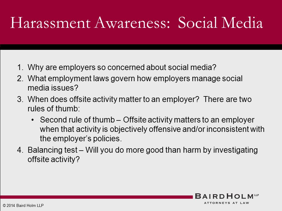 © 2014 Baird Holm LLP 1.Why are employers so concerned about social media.