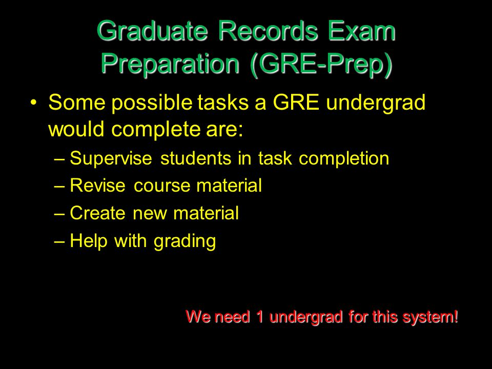 Graduate Records Exam Preparation (GRE-Prep) Some possible tasks a GRE undergrad would complete are: –Supervise students in task completion –Revise course material –Create new material –Help with grading We need 1 undergrad for this system!