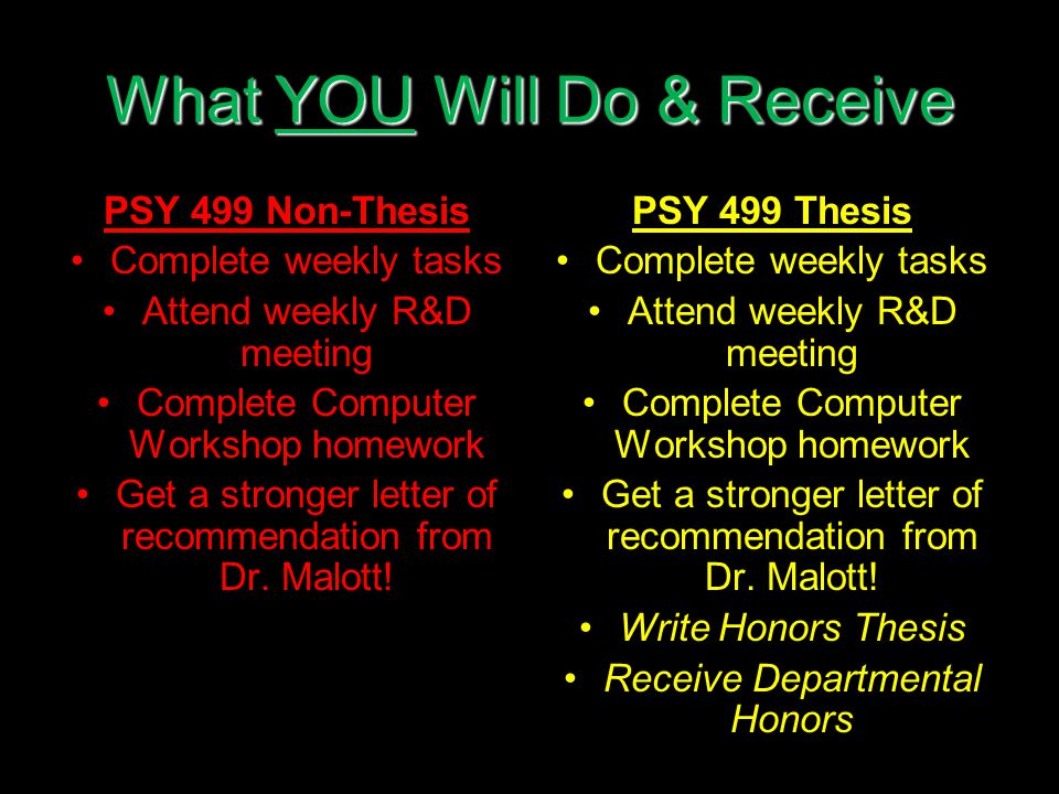 What YOU Will Do & Receive PSY 499 Non-Thesis Complete weekly tasks Attend weekly R&D meeting Complete Computer Workshop homework Get a stronger letter of recommendation from Dr.