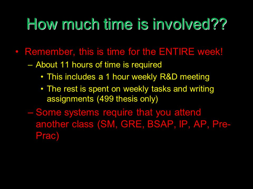 How much time is involved?. Remember, this is time for the ENTIRE week.