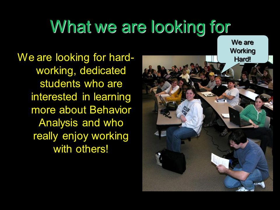 What we are looking for We are looking for hard- working, dedicated students who are interested in learning more about Behavior Analysis and who really enjoy working with others.