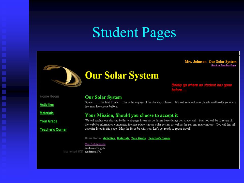 Student Activity Page