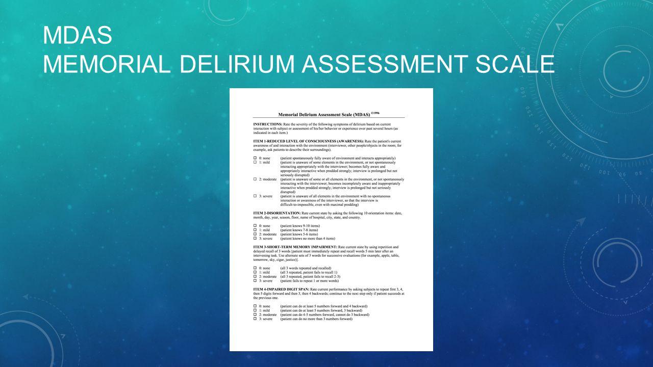 MDAS MEMORIAL DELIRIUM ASSESSMENT SCALE