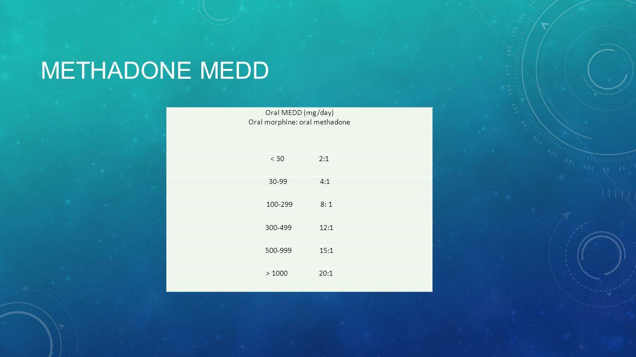 METHADONE MEDD Oral MEDD (mg/day) Oral morphine: oral methadone < 30 2:1 30-99 4:1 100-299 8: 1 300-499 12:1 500-999 15:1 > 1000 20:1