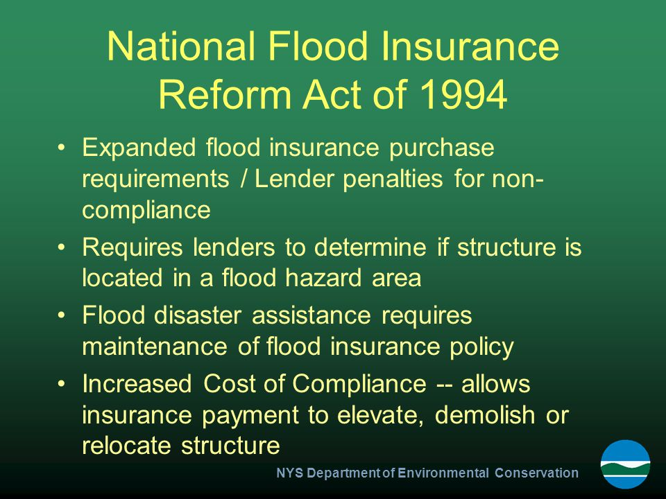 NYS Department of Environmental Conservation Post FIRM Rerating Actuarial Rate $791 1994 - Structure Repaired - Elevated BFE 10 NGVD LOWEST FLOOR 10' NGVD
