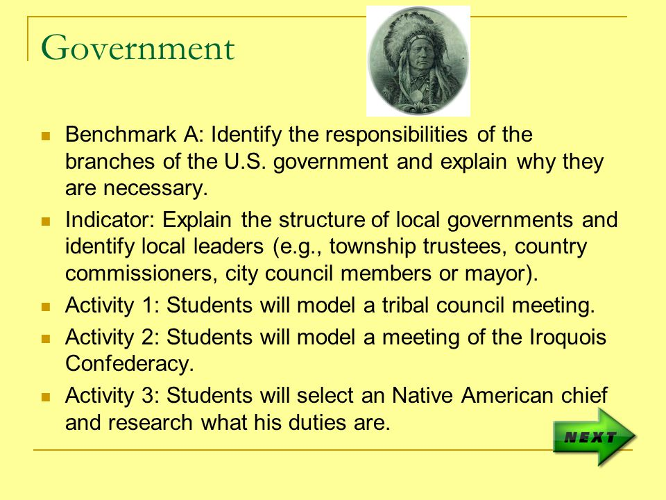 Government Benchmark A: Identify the responsibilities of the branches of the U.S.