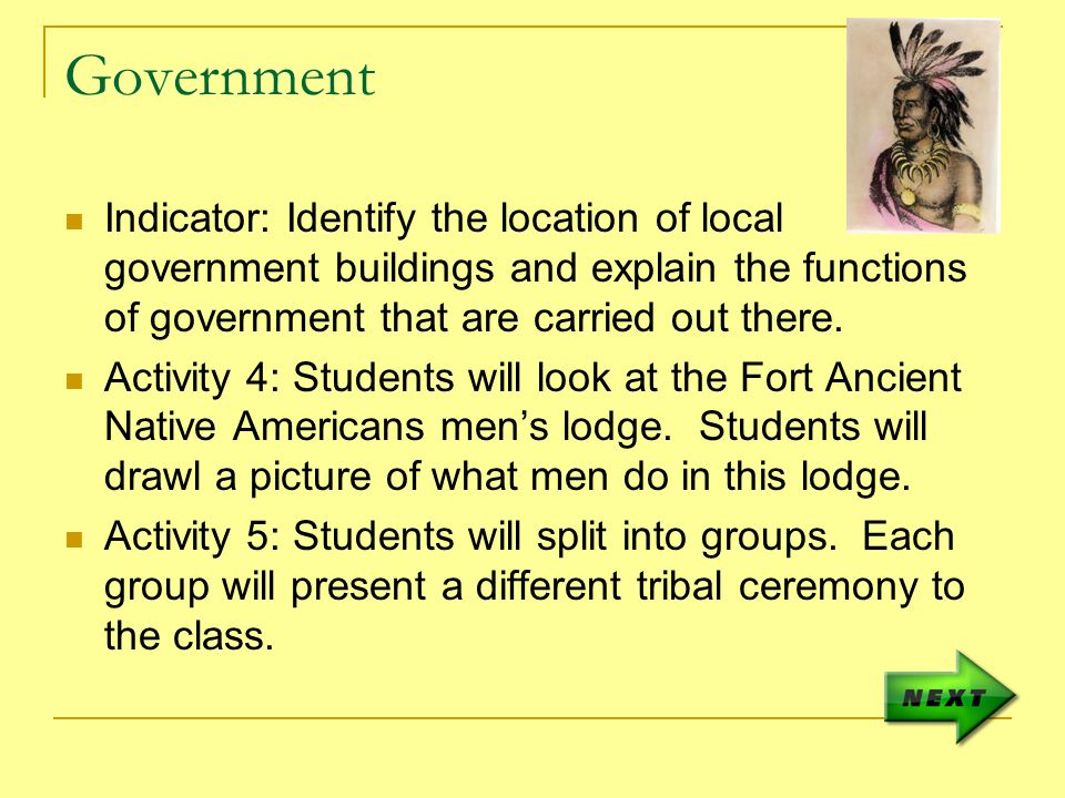 Government Indicator: Identify the location of local government buildings and explain the functions of government that are carried out there.