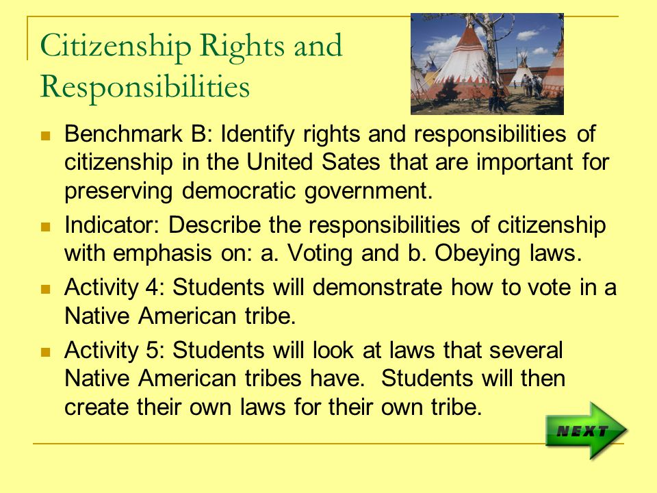 Citizenship Rights and Responsibilities Benchmark B: Identify rights and responsibilities of citizenship in the United Sates that are important for preserving democratic government.