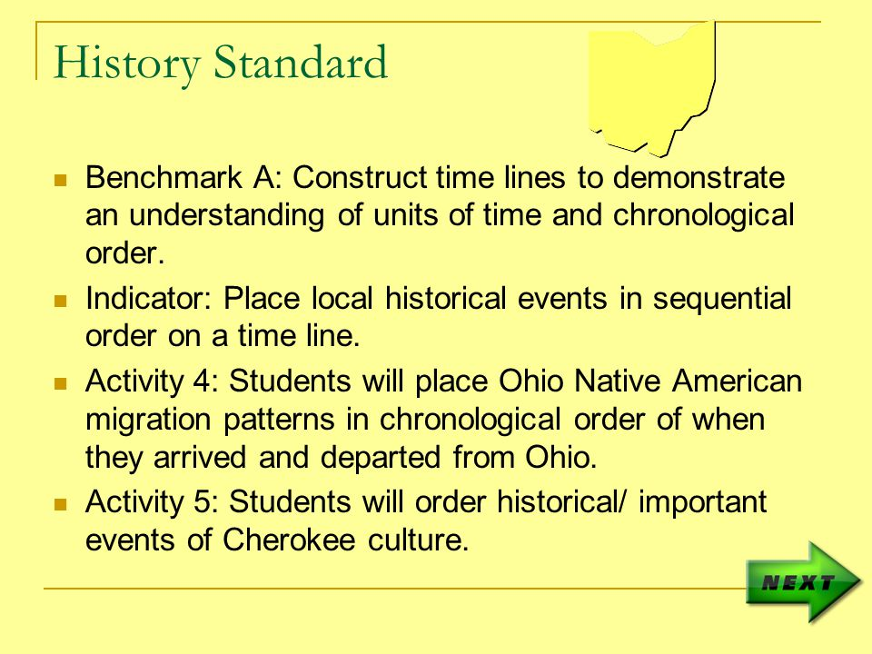 History Standard Benchmark A: Construct time lines to demonstrate an understanding of units of time and chronological order.