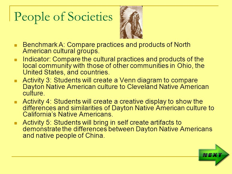 People of Societies Benchmark A: Compare practices and products of North American cultural groups.