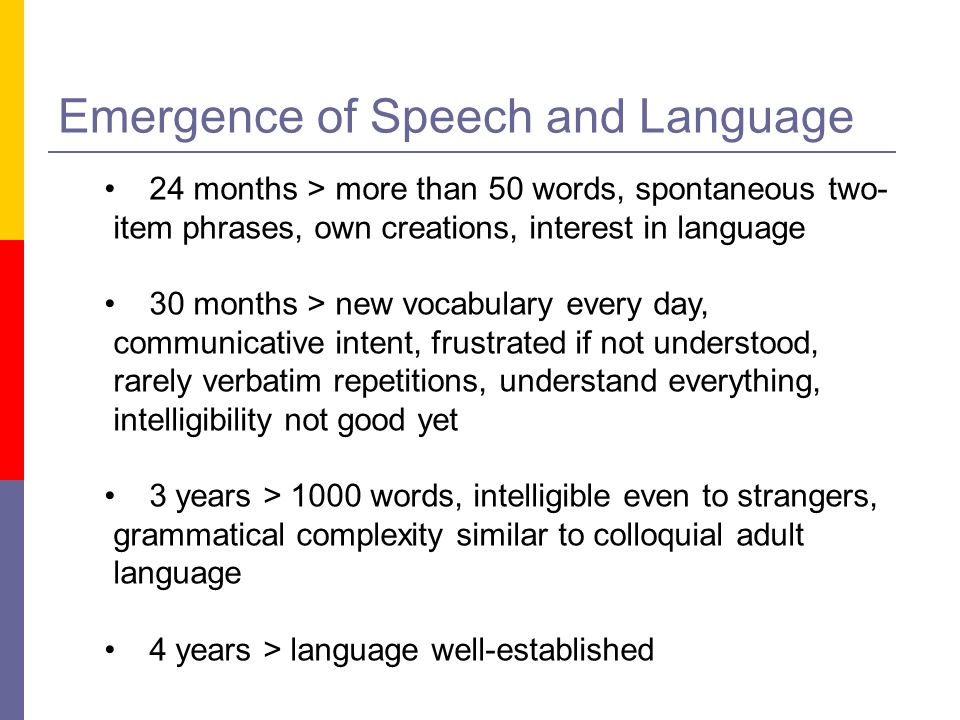 Emergence of Speech and Language 24 months > more than 50 words, spontaneous two- item phrases, own creations, interest in language 30 months > new vo