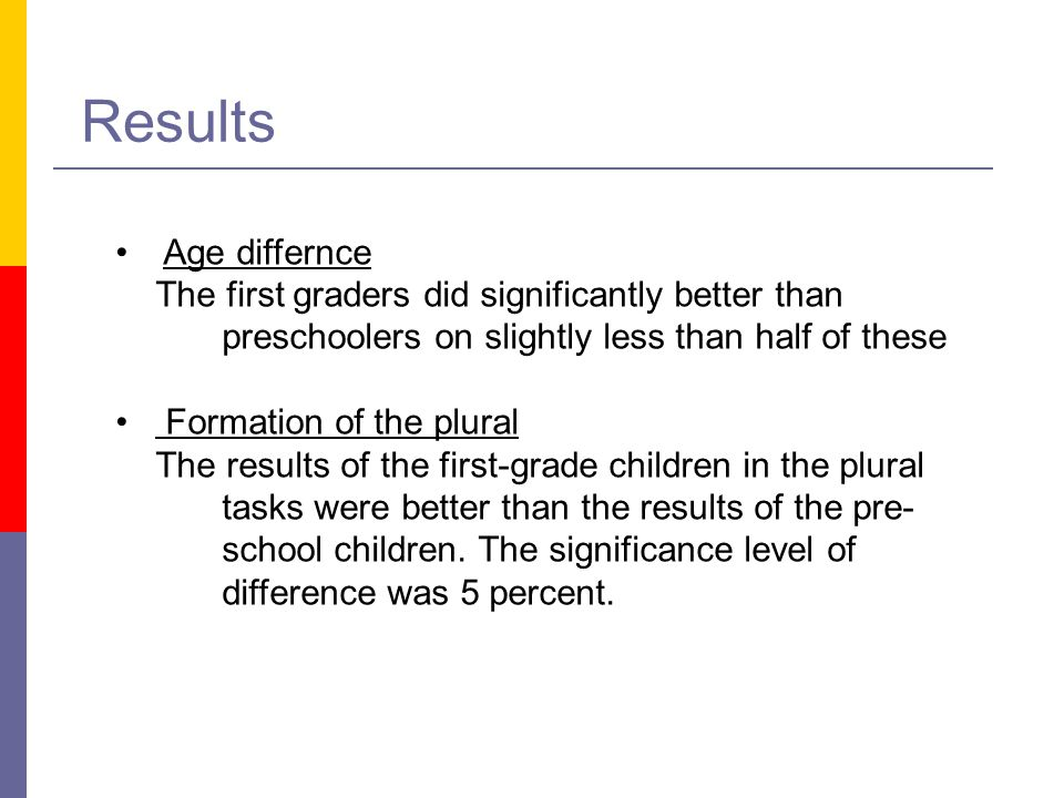 Results Age differnce The first graders did significantly better than preschoolers on slightly less than half of these Formation of the plural The res