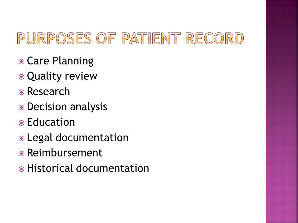  Care Planning  Quality review  Research  Decision analysis  Education  Legal documentation  Reimbursement  Historical documentation