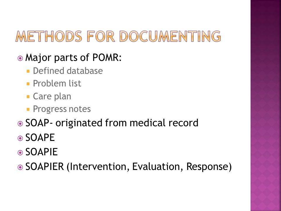  Major parts of POMR:  Defined database  Problem list  Care plan  Progress notes  SOAP- originated from medical record  SOAPE  SOAPIE  SOAPIER (Intervention, Evaluation, Response)