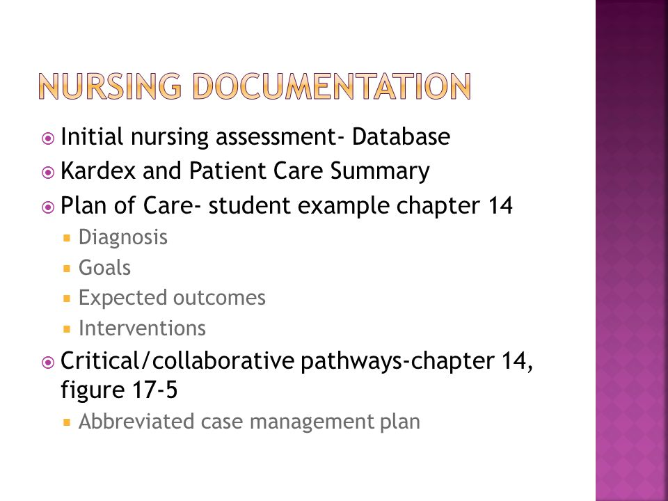  Initial nursing assessment- Database  Kardex and Patient Care Summary  Plan of Care- student example chapter 14  Diagnosis  Goals  Expected outcomes  Interventions  Critical/collaborative pathways-chapter 14, figure 17-5  Abbreviated case management plan