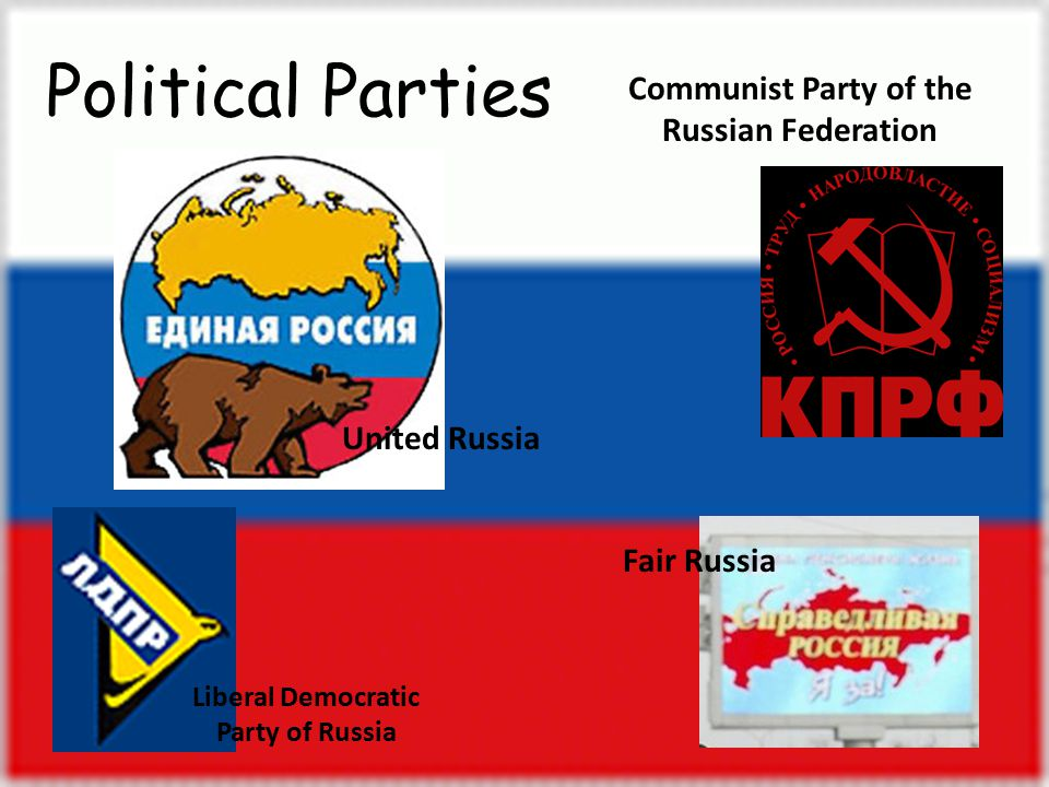 United Russia Communist Party of the Russian Federation Liberal Democratic Party of Russia Fair Russia Political Parties