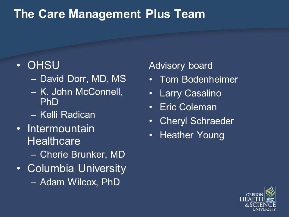 The Care Management Plus Team OHSU –David Dorr, MD, MS –K.